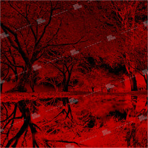 album art with red trees