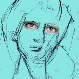 Album artwork design with sketch of a man with real eyes