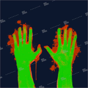 album art with hands and blood