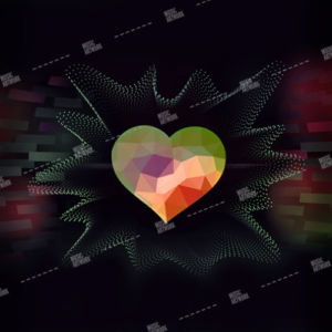 album art design with heart on dark electronic background