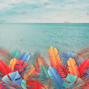 sea and coloured plants
