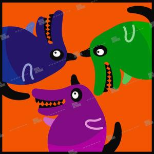 album cover design with three dogs