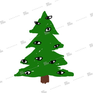 christmas tree with eye ornaments